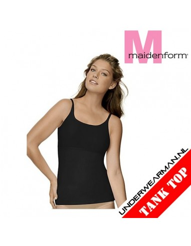 Maidenform Flexees Fat Free Shirt Camisole Black Tummy Toning