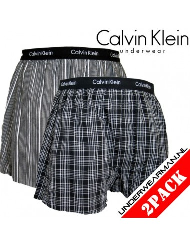 Calvin Klein Ondergoed Woven 2Pack Black BXR Matrix