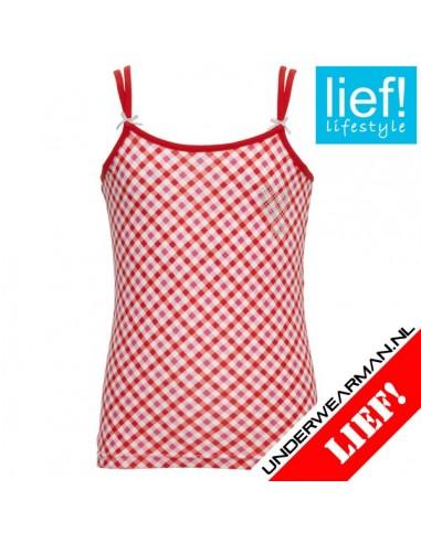 Lief! Spaghetti Shirt Red Check Meisjes ondergoed