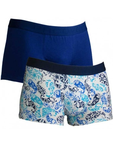 Uncover Trunk Short 2Pack Blue Paisley Schiesser