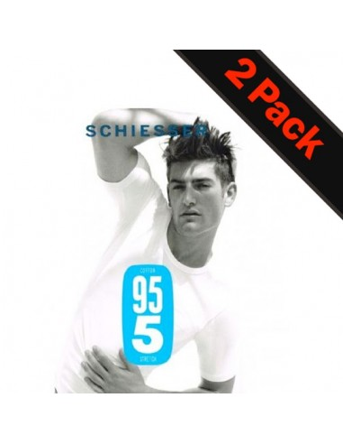 Schiesser V-Shirt 2Pack Wit 95/5 Voordeelpak