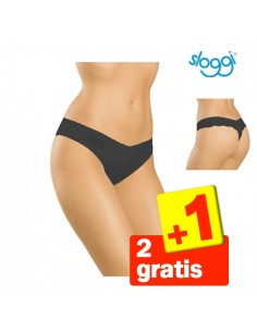 Sloggi Light Cotton String Zwart 3Pack 2+1 gratis