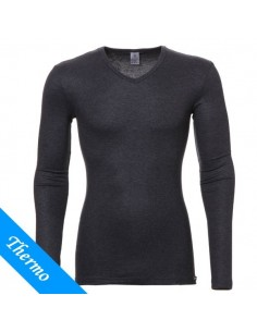 Ten Cate Heren Thermo V-Shirt Antraciet lange mouw