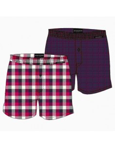 Schiesser Woven Boxershorts 2Pack Red Berry Blocks