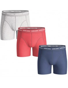 Björn Borg Boxershorts 3Pack Seasonal Solid Estate Blue Grey Red