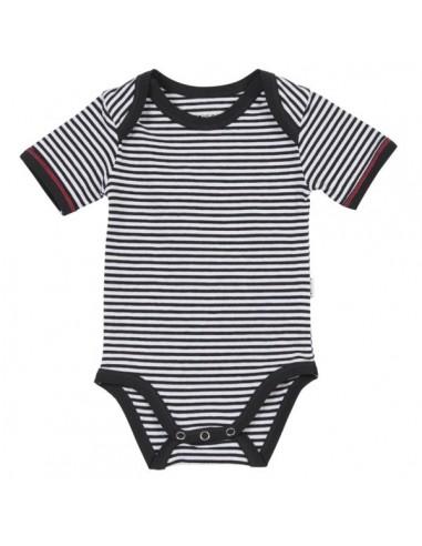 Claesen's Jongens Romper Navy White Stripes Korte Mouw