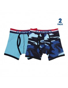 Claesen's Jongens 2Pack Boxershorts Army & Light Blue