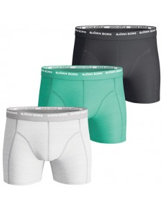 Björn Borg Boxershorts 3Pack Seasonal Solid Grey Melange Green