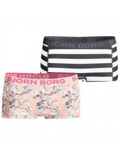 Bjorn Borg Dames Mini Shorts 2Pack Storybook Wonderland Stripe Peach