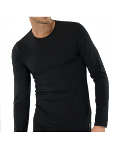 Schiesser T-Shirt zwart lange mouw