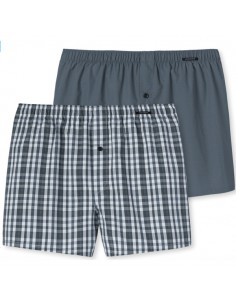 Schiesser Woven Boxershorts 2Pack Antraciet Kind