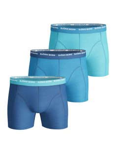 Björn Borg Boxershorts 3Pack Basic Seasonal Solids Contrast Vallarta Blue