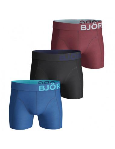 Björn Borg Boxershorts 3Pack Basic Seasonal Solids Vallarta Blue