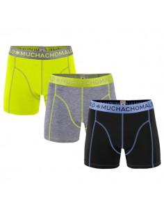 MuchachoMalo Yellow Grey Solid 166 3Pack Jongens Boxershorts