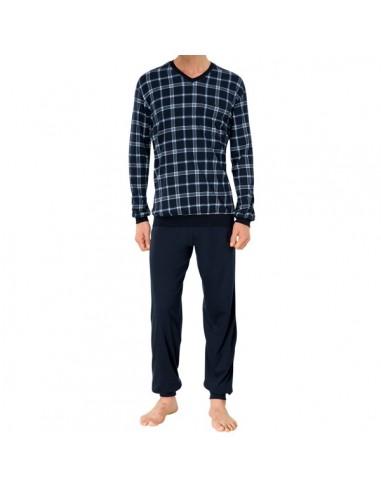 Schiesser Pyjama Set Navy Ruit v-hals