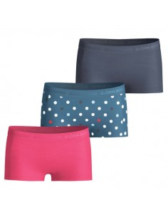 Bjorn Borg Meisjes 3Pack Mini Shorts BB Contrast Dot Maroccan Blue ondergoed