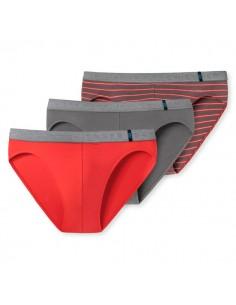 Schiesser Rio Slip 3Pack Red grey 95/5 Slip