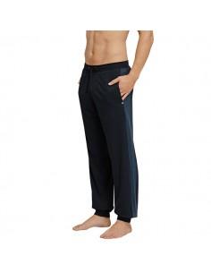 Schiesser Long Pants Lounge Broek Pique Zwart Blauw