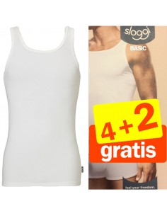 Sloggi basic Hemd White 4 + 2 gratis 6 pack