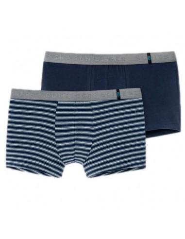 Schiesser Heupshort 2Pack Blue Stripe 95/5 Boxerhort