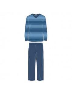 Schiesser Pyjama Set streep donker blauw
