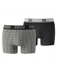 Puma Boxershort 2Pack GRAPHIC PRINT Grey Melee / Black