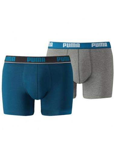 Puma Boxershort 2Pack BASIC STRIPE Sailor Blue / Grey Melee