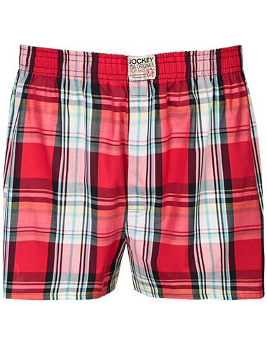 Jockey Boxershort Klassiek red block cotton