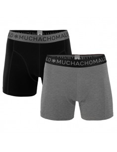 MuchachoMalo 2Pack SOLID 199 Grey Black Heren Boxershorts