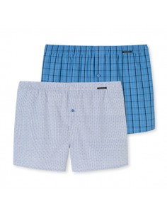 Schiesser Woven Boxershorts 2Pack Petrol Look