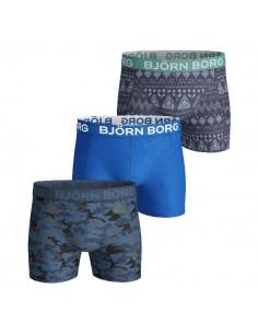 Björn Borg Short 3Pack BB SHADE S & ETNO STRIPE Mykonos Blue