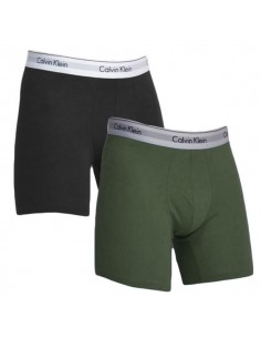 Calvin Klein Ondergoed Modern Cotton Stretch Boxer Army Green Black 2Pack