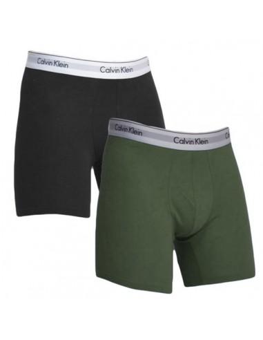 Calvin Klein Ondergoed Modern Cotton Stretch Boxer Army Green Black 2Pack