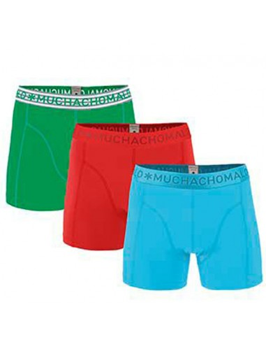 MuchachoMalo SOLID 218 3Pack Light Blue Red Green Heren Boxershorts