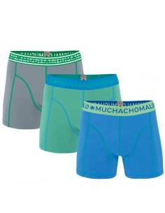 MuchachoMalo SOLID 227 3Pack Blue Green Grey Heren Boxershorts