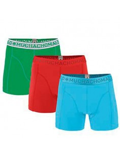 MuchachoMalo 3Pack SOLID 218 Light Blue Red Green Jongens Boxershorts