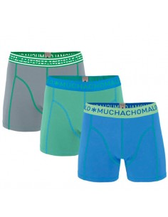 MuchachoMalo 3Pack SOLID 227 Blue Bright Green Grey Jongens Boxershorts