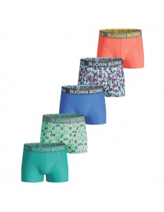 Bjorn Borg 5Pack Boys BB Badges Flamingo Directoire Blue Boxershorts