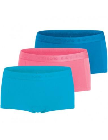 Bjorn Borg Dames 3Pack Seasonal Solids Blue Atoll Mini Shorts