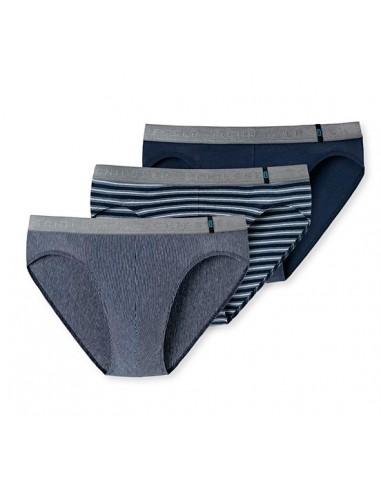 Schiesser Rio Slip 3Pack Blue Stripe Grey 95/5 Slip
