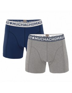 MuchachoMalo 2Pack SOLID 224 Grey Blue Heren Boxershorts