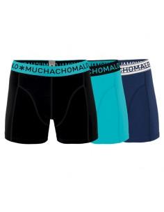 MuchachoMalo 3Pack SOLID 230 Blue Black Aqua Jongens Boxershorts