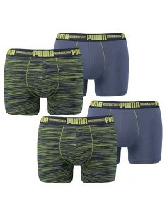 Puma Boxershort 4 pack space dye Blue Lime