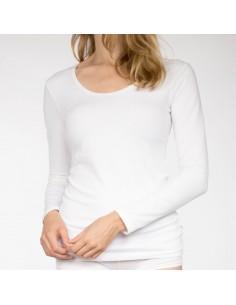 Claesens Dames T-Shirt Wit ronde-hals lange mouw