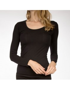 Claesens Dames T-Shirt Zwart ronde-hals lange mouw