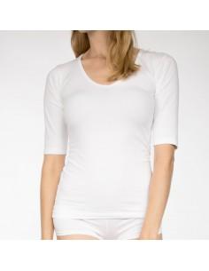 Claesens Dames T-Shirt Wit Ronde Hals 3/4 Mouw