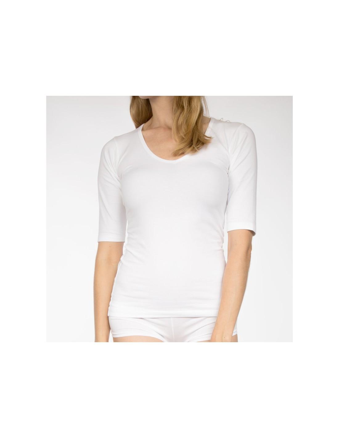 112ed855d97 Claesens Dames T-Shirt Wit Ronde Hals 3/4 Mouw
