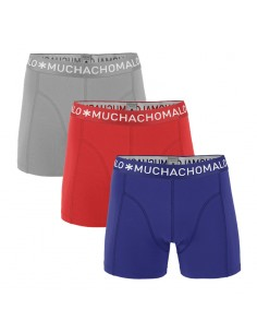 MuchachoMalo 3Pack SOLID 255 Grey Dark Blue Red Jongens Boxershorts