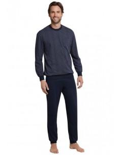 Schiesser Pyjama Set Blocks Dark Blue