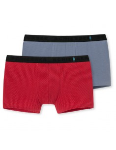 Schiesser Low Rise Shorts 2Pack rood grijs 95/5 Boxershort